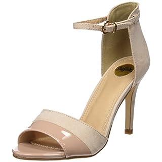 Buffalo Shoes 312339 IMI SUEDE PAT PU, Damen Knöchelriemchen Sandalen, Beige (NUDE 01), 37 EU