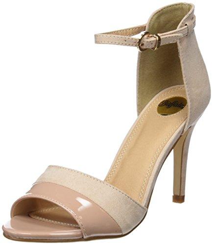 Buffalo Shoes 312339 IMI SUEDE PAT PU, Damen Knöchelriemchen Sandalen, Beige (NUDE 01), 40 EU