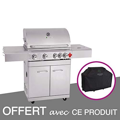 GREADEN- BBQ Grill Barbecue À Gaz INOX PHÉNIX - 4 BRÛLEURS+1 FEU LATÉRAL et...