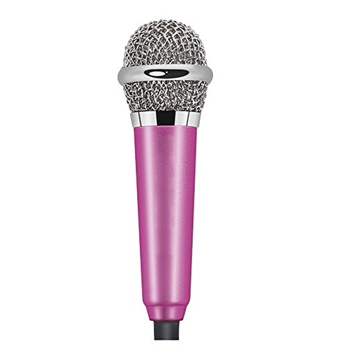 Cuitan Mini Micrófono de Condensador para Smartphone / Tablet PC / Desktop Computadora, Enchufe de 3.5mm Micrófono con Cable de Adaptador para Llamadas, Chateando, Grabación, Canto Karaoke - Rosa Roja