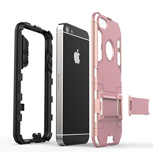 Cuitan 2 in 1 Dual Layer Hybrid Schutzhülle für iPhone 5S / 5 / 5G, TPU Weich Bumper und PC Harte Rückseitige Abdeckung Built-in Ständer Design Rüstung Hülle Handytasche Tasche Case Cover mit Toch Pen Rose Gold