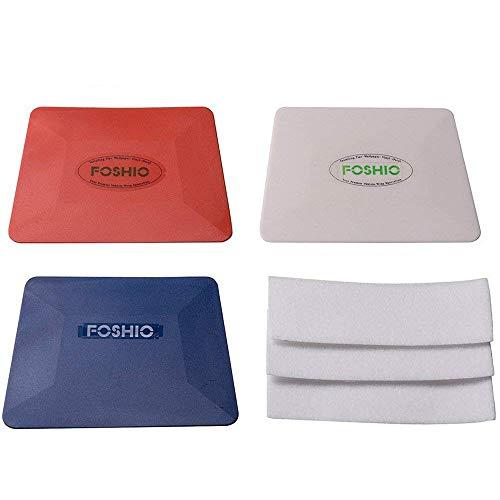 FOSHIO Vinyl Installing rakel set enthalten weiße Hard Card, Soft Teflon Silberrakel mit Filzkante, weißes Gewebe Filz für rakel Auto Fenster Foilen Wickeln Werkzeug