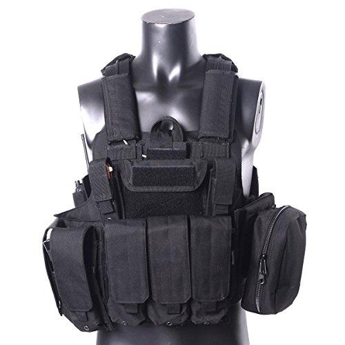 YAKEDA® Molle combattimento tattico della maglia Arms Tactical gear Stealth Black vettori militari di caccia Vest Con Modular System Web MOLLE con La quota comprende 7 modulari Sacchetti-VT-1026 - Militare Doppio Magazine Pouch