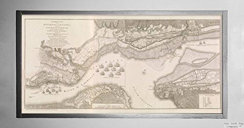 New York Map Company () 1768Karte Canada|Quebec|québec Eine korrekte Plan der Umgebung von Québec, und der Schlacht Fought|Historic Antik Vintage Reprint|Ready Zum Rahmen
