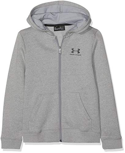 Under Armour Jungen EU Cotton Fleece Full Zip Oberteil, Grau, YXS Long Sleeve Full Zip Fleece