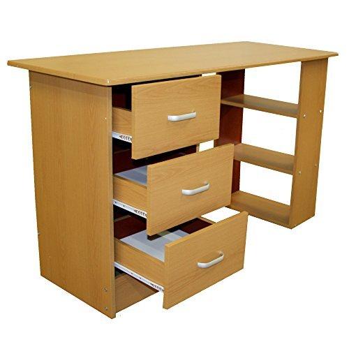 Redstone Schreibtisch Computertisch 3 Schubladen 3 Regale (Buche)