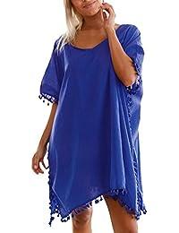 Eozy Women Solid Color Beachwear Dress Tassel Bikini Cover Up