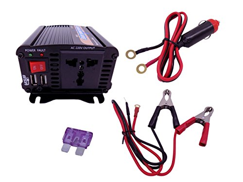 Power Inverter Invertitore di Potenza 500W Solare Accendino da Auto per Trasformatore DC 12V to AC 230V 240V Adattatore Ccon Spina a 3 pin e Porte USB Doppie EPI500