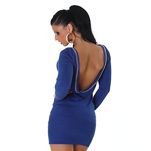 Jela London femmes robe pull à manches longues pull long pull encolure dos optique côtelés pull robe longue chemise 36,38,40,42 Bleu