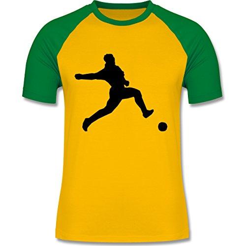 Fußball - Fußball - zweifarbiges Baseballshirt für Männer Gelb/Grün