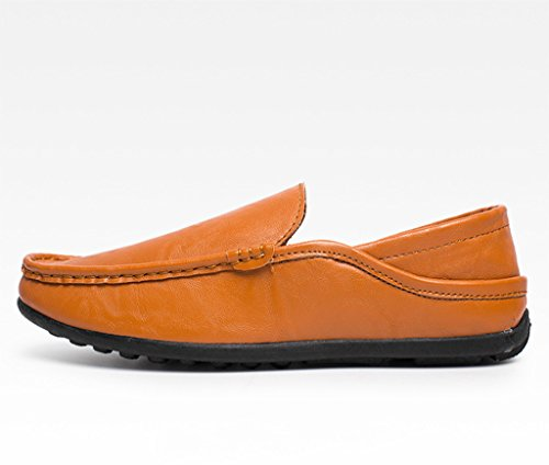 SGoodshoes Herren Komfort Loafers Mokassins Leder Driving schuhe Orange