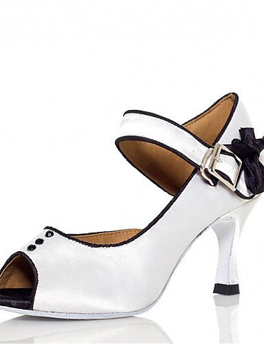 ShangYi Chaussures de danse ( Rose / Blanc ) - Personnalisables - Talon Personnalisé - Satin - Latine / Jazz / Salsa / Samba / Chaussures de Swing White