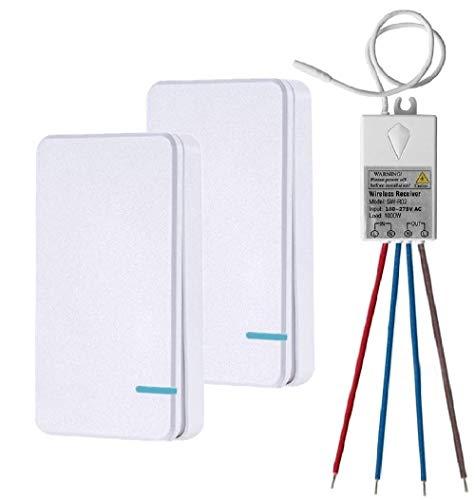 Thinkbee Funkschalter Set mit Fernbedienung, MINI kabelloser lichtschalter wasserdicht wireless piezo schalter für In/Außen Lampe 1000W Installierbar/Tragbar Funktaster 60.0000 Mal Verwendbar-2 Knöpfe