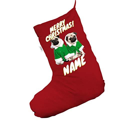 personalisierbar Santa Kostüm Möpse Jumbo rot