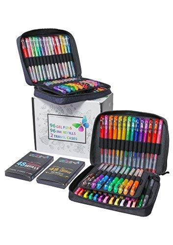Colorit 96Gel Stifte für Erwachsene Färben Bücher-2Travel Case Gel Pen-Sets mit 72Glitter, 12, metallic, 12neon plus 96passenden farbigen Geltinte-Minen