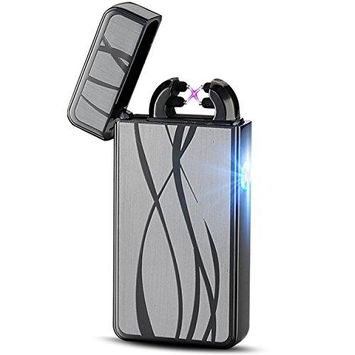 Feuerzeug USB Aufladbar Feuerzeug Lichtbogen Feuerzeug Elektronisches Feuerzeug Metall Plasma Elektro USB Feuerzeug Electric Lighter Valentinstag Geschenk für Freund (Schwarz)