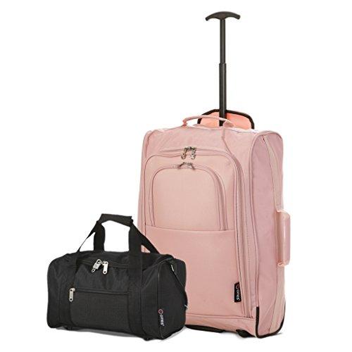 Ryanair Cabin Approved 55x40x20cm & Second 35x20x20 HandgepŠck Set - machen Sie beide! (Rosé-gold) (5 Cabin)
