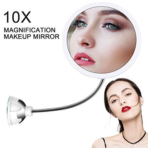 STLOVe LED 10X Espejo de Maquillaje Aumento de 10X con Ventosa & el Cuello de Cisne Flexible Ajustable...