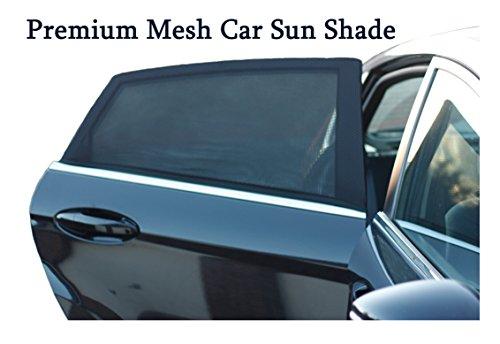 Premium en maille de voiture pare-soleil pour fenêtre latérale arrière |uv protection| blocs soleil l'éblouissement et permet l'air frais Débit | Lot de 2 | Installation facile