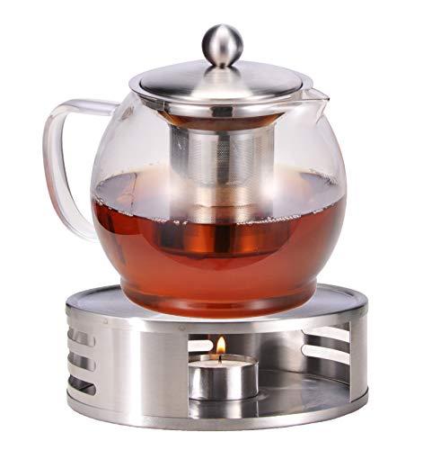 Bambelaa! Teekanne mit Stövchen Siebeinsatz Glas Set Tee Glaskanne Teebereiter Kaffeekanne Teesieb Kanne Teewärmer ca.1,2 Liter