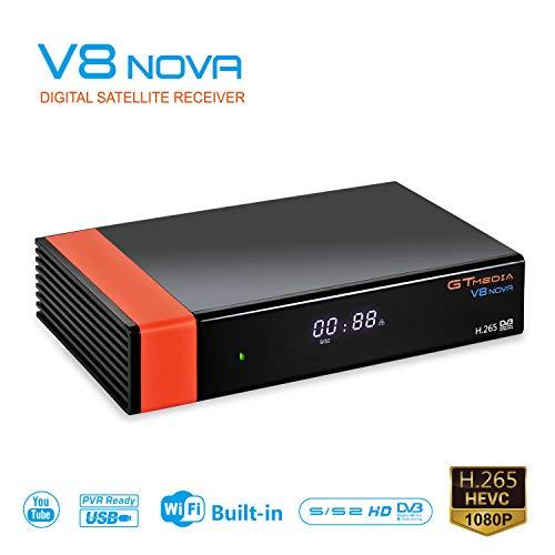GTMEDIA V8 Nova TV Sat Receiver Satelliten-Receiver Satelliten Decoder DVB-S2 Unterstützungt 1080p Full HD PowerVu Biss Schlüssel Cccam Newcam IPTV mit Built-in WiFi