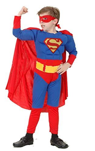 Piccoli monelli costume super man bambino 11-14 anni vestito super eroi di carnevale caldo con muscoli altezza bimbo 130-140 cm