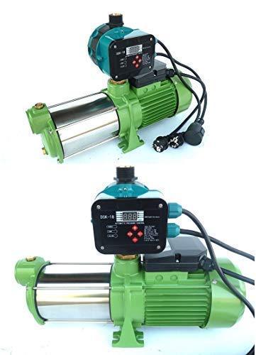 CHM Kreiselpumpe Gartenpumpe INOX HMC145-4SH 1100Watt, Spannung 230V/50Hz, Förderleistung 9000 l/h - 150 l/min, 5 bar robuste Edelstahlwell + digitaler Pumpensteuerung DSK-18.