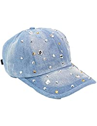 Fuxitoggo Cowboy Lady Gorra de béisbol Fashion Rhinestones Retro Cap Shade  Hat (Color   MediumBlue 0ebf0959b87