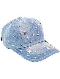Fuxitoggo Cowboy Lady Gorra de béisbol Fashion Rhinestones Retro Cap Shade  Hat (Color   MediumBlue f2eef127b00