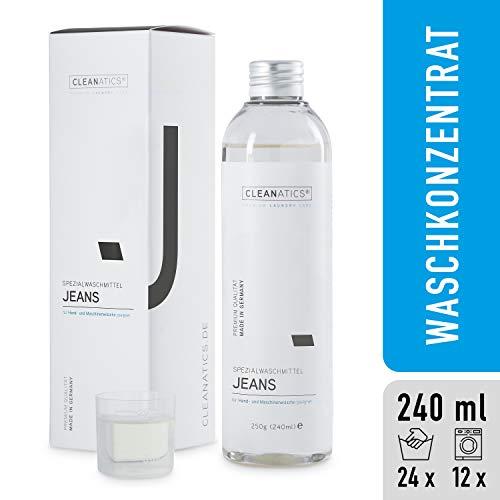 CLEANATICS Jeanswaschmittel - verhindert Verblassen der Waschung - Denim Waschmittel Konzentrat für frischen Duft bei Jeans Hosen, Jeansjacke, Jeansrock, Jeanskleid, Jeanshemd, Denim Shirt - (250 g) -