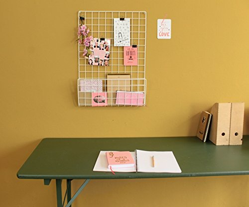 Memoboard und Zeitschriftenhalter aus Drahtgitter, Weiß, inklusive Befestigungsmaterial, Maße 50 x 72,5 cm