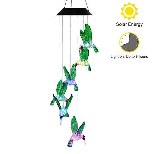 Windspiel für Weihnachten, Außenleuchten LED-Leuchten solarbetrieben Farbwechsel Kolibri Windspiel für Hause/Party/Nacht Garten Dekoration rot Farbwechsel ()