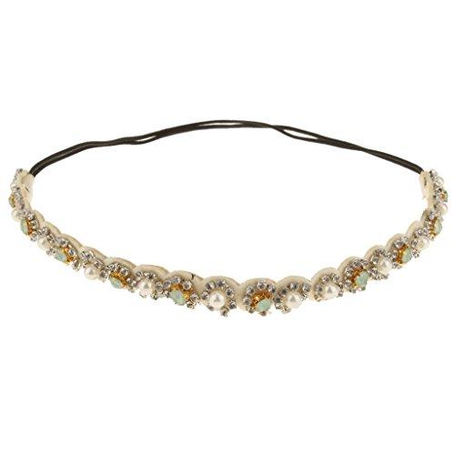 Brillant Strass Bandeau de Cheveux Femme Perles Elastique Bijoux Hippie