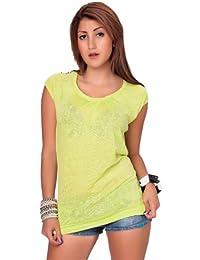 24brands Damen Frauen T-Shirt Top Sommer sweatshirt Top shirts Rundhals Kurzarm mit Nieten XS S M L
