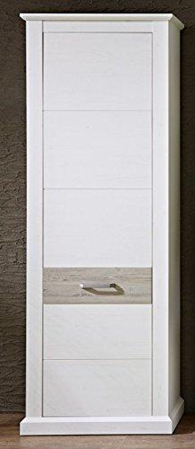 Stella Trading 3041UU02 Landhaus Holzschrank Garderobenschrank, Holz, weiß, 75 x 42 x 208 cm