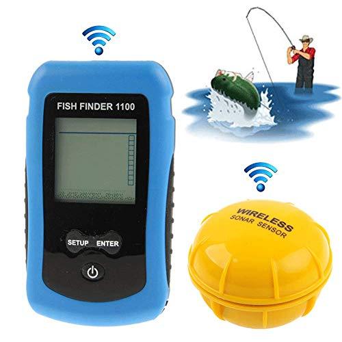 AXDNH Wireless Fish Finder, Handheld-LCD-Monitor Tragbarer Sonar Fish Finder, Zeigt Tiefe, Wassertemperatur, Fischgröße, Fischort, Genauigkeit bis zu 0,1 m Handheld-lcd-monitor