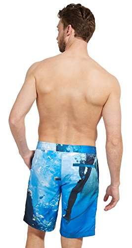 Tom Tailor für Männer Beachwear gemusterte Schwimm-Shorts day of rest blue