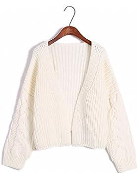 Hembra Jersey de otoño e invierno de corto grueso suéter Chaqueta cardigan pequeño suelto