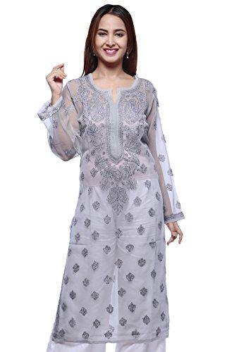 ADA Hand Embroidered Casual Wear Chikan Kurti Kurtas for Women Grey Georgette...