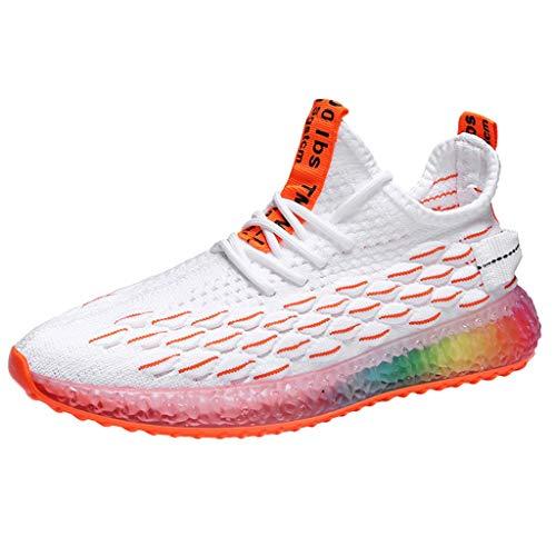 HDUFGJ Herren Sneaker Sportschuhe Weben atmungsaktiv Regenbogensohle Laufschuhe Freizeitschuhe40(Orange) - Response Trail-running-schuh