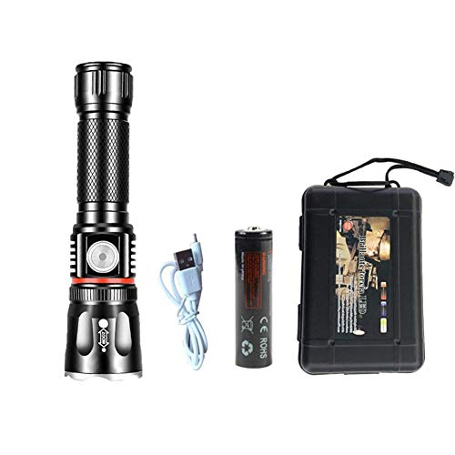 kapokilly Taschenlampe, LED Aluminiumlegierung Taschenlampe Dual Light Taschenlampe USB Lade COB Taschenlampe Für Outdoor Camping Portable -