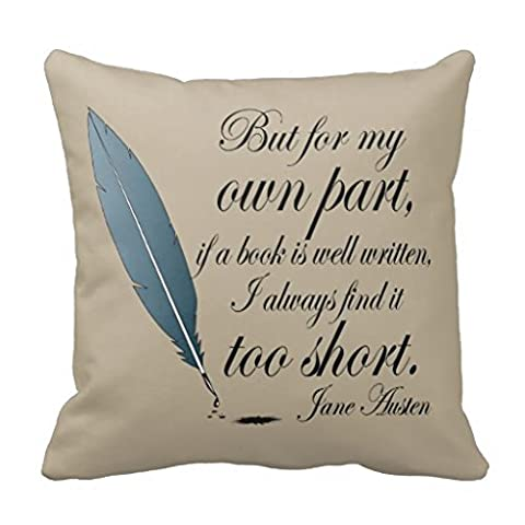 Stylish Cushion Cover Pillows Shell Jane Austen Book Well Written Quote Throw Pillow Case Canvas Decorative Accent Pillow Sham