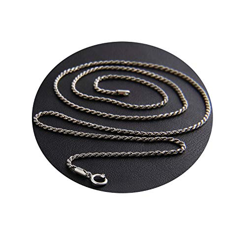 Männer Halskette Halskette Silber 925 Herren Silber 925 Kette Gothic Punk 1.6mm Mode Herren Kabel Draht 55 cm Lang Breit Blisfille