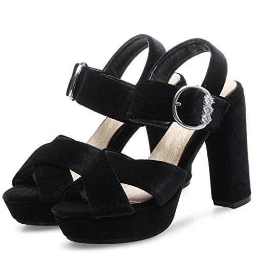 TAOFFEN Damen Classic Peep-toe Chunky Heel Sandalen Party Dress Shoes Schwarz