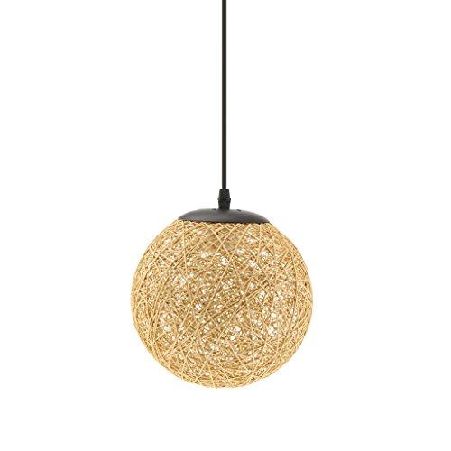 MagiDeal Lámpara de Techo Forma de Bola de Tela Tejida de Mimbre Luz Colgante Interior 20CM Decoración de Cafetería de Restaurante de Hogar - De Lino