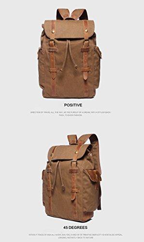 Unisex Rucksack Canvas Damen Backpack Herren Canvas Wanderrucksack Rucksack Vintage Laptoprucksack (Armee Grün) Braun