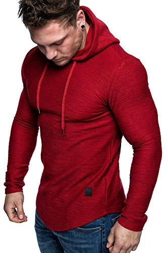 Amaci&Sons Herren Oversize Kapuzenpullover Hoodie Sweater Pullover Sweatshirt 4011 Rot L