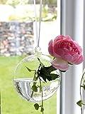 GILDE Vase Glas Hängevase Rund Klar Band Hängelänge ca 56 cm 2 er Set