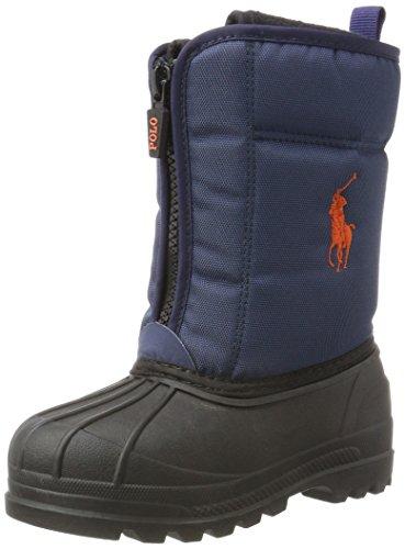 Ralph Lauren Unisex-Kinder Quilo Zip Schneestiefel, Blau (Navy Nylon W/Orange pp), 27 EU - Lauren Schuhe Für Ralph Jungen