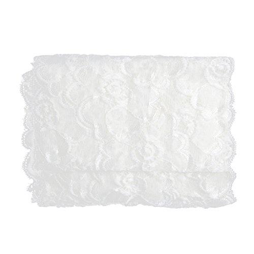Blesiya Elastische Blumen Spitze Rand Trim Braut Hochzeit Band Nähen DIY - Weiß, 5 Yards 20 cm -
